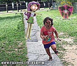 Size: 640x549 | Tagged: safe, artist:rsa.fim, fluttershy, equestria girls, 3d, chromatic aberration, dank memes, deep fried meme, distorted, floating, glowing eyes, glowing eyes meme, irl, lens flare, meme, not salmon, open arms, photo, running, scared, shitposting, t pose, unitárium, wat