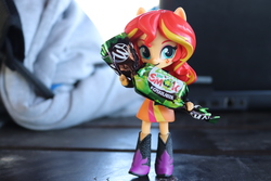 Size: 6000x4000 | Tagged: safe, artist:artofmagicpoland, sunset shimmer, equestria girls, candy, doll, equestria girls minis, female, food, holding, irl, photo, ponymeet, solo, toy