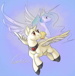 Size: 987x1000 | Tagged: alicorn, artist:php27, duo, flying, horn, oc, oc:ceri, peytral, pony, princess celestia, safe, simple background, spread wings, wings