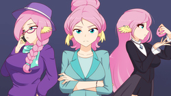 Size: 1280x721 | Tagged: safe, artist:jonfawkes, fluttershy, human, fake it 'til you make it, blue background, breasts, busty fluttershy, crossed arms, female, fluttergoth, glasses, goth, hipstershy, humanized, looking at you, severeshy, simple background, triality, trio, wing ears