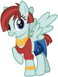 Size: 2400x3200 | Tagged: safe, artist:cheezedoodle96, valley glamour, pegasus, pony, fake it 'til you make it, .svg available, bracelet, clothes, denim shorts, female, hair over one eye, jewelry, looking at you, mare, midriff, necklace, raised hoof, short hair, simple background, solo, spread wings, svg, sweatshirt, transparent background, vector, wings