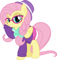 Size: 5010x5292 | Tagged: absurd res, artist:jhayarr23, braid, clothes, fake it 'til you make it, female, fluttershy, glasses, hipstershy, hot pants, mare, pegasus, pony, raised hoof, safe, simple background, solo, transparent background, vector
