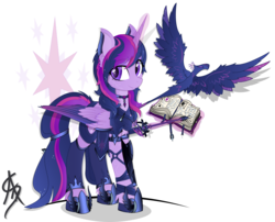 Size: 3224x2599 | Tagged: safe, artist:aleriastarlight, twilight sparkle, alicorn, phoenix, pony, alternate hairstyle, armor, badass, book, boots, clothes, coat markings, colored wings, cutie mark, cutie mark background, cutie mark on clothes, dark phoenix, digital art, ear fluff, epic, female, glowing horn, high res, jewelry, leg strap, leggings, looking sideways, magic, mare, necklace, scarf, shoes, signature, solo, starry mane, style emulation, sword, tail band, telekinesis, transparent background, twilight sparkle (alicorn), vector, weapon, wing armor, wingding eyes