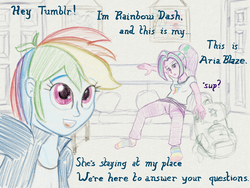 Size: 2560x1920 | Tagged: safe, artist:cybersquirrel, aria blaze, rainbow dash, tumblr:ariadash, equestria girls, ariadash, backpack, clothes, colored sketch, couch, digital art, female, lesbian, misleading thumbnail, pillow, rainbow socks, shipping, socks, striped socks, traditional art emulation, tumblr