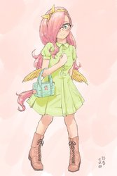 Size: 1200x1800   Tagged: safe, artist:yanamosuda, oc, oc:shymos, human, blushing, boots, clothes, cute, dress, elf ears, female, glasses, hair covering face, hair over one eye, humanized, looking at you, parent:fluttershy, purse, shoes, winged humanization, wings
