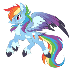Size: 1286x1250 | Tagged: dead source, safe, artist:hioshiru, rainbow dash, pegasus, pony, alternate design, chest fluff, colored hooves, colored wings, colored wingtips, cutie mark, ear fluff, female, flying, gritted teeth, leg fluff, looking forward, mare, multicolored wings, redesign, simple background, smiling, solo, spread wings, tail feathers, unshorn fetlocks, white background, wings