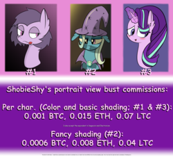Size: 1950x1763 | Tagged: artist:shobieshy, bedroom eyes, bitcoin, bust, candy, comic sans, commission info, confused, ear fluff, ethereum, female, floppy ears, food, litecoin, lollipop, magic, mare, nervous, oc, oc:bee, pony, safe, starlight glimmer, trixie, unicorn
