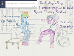Size: 2560x1920 | Tagged: safe, artist:cybersquirrel, aria blaze, rainbow dash, tumblr:ariadash, equestria girls, ariadash, backpack, clothes, couch, digital art, female, lesbian, pillow, rainbow socks, shipping, socks, striped socks, traditional art emulation, tumblr