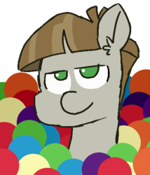 Size: 438x512 | Tagged: 30 minute art challenge, artist:threetwotwo32232, ball, ball pit, earth pony, looking at you, male, mudbriar, pony, safe, solo, stallion