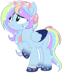 Size: 309x362 | Tagged: artist:angelamusic13, base used, female, floral head wreath, flower, magical lesbian spawn, mare, oc, oc only, offspring, parent:princess luna, parent:rainbow dash, parents:lunadash, pegasus, pony, safe, simple background, solo, transparent background