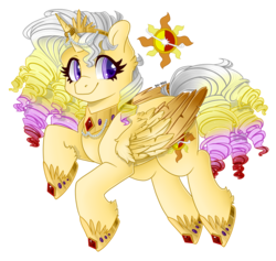 Size: 1024x972 | Tagged: safe, artist:sk-ree, oc, oc:sunlight aria, alicorn, pony, colored wings, colored wingtips, female, magical lesbian spawn, mare, offspring, parent:princess celestia, parent:sunset shimmer, parents:sunsestia, simple background, solo, transparent background