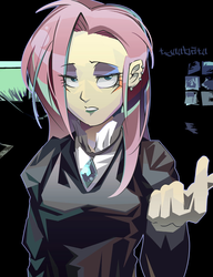 Size: 1200x1563 | Tagged: safe, artist:tyuubatu, fluttershy, equestria girls, fake it 'til you make it, clothes, ear piercing, eyeshadow, fluttergoth, gloves, goth, jewelry, lidded eyes, looking at you, makeup, piercing, signature, turtleneck