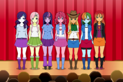 Size: 1214x804 | Tagged: safe, artist:cubiejewelart, applejack, fluttershy, pinkie pie, rainbow dash, rarity, sunset shimmer, twilight sparkle, human, equestria girls, alternate hairstyle, anime, belt, boots, clothes, compression shorts, cowboy hat, denim skirt, female, freckles, hat, humane five, humane seven, humane six, humanized, jacket, kisekae, leather jacket, leg warmers, pleated skirt, pony coloring, shoes, shorts, skirt, socks, stetson