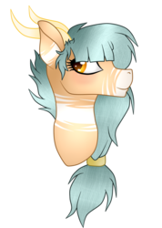 Size: 1246x1754 | Tagged: artist:cindypinkartje, bust, earth pony, female, horns, oc, oc:forest keeper, pony, portrait, safe, simple background, solo, transparent background
