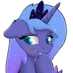 Size: 2278x2278 | Tagged: safe, artist:nighty, derpibooru exclusive, princess luna, alicorn, pony, blushing, cheek fluff, colored pupils, crown, ear fluff, female, jewelry, mare, regalia, simple background, smiling, solo, transparent background, when she smiles