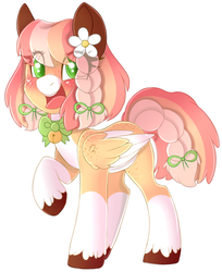 Size: 2281x2797   Tagged: safe, artist:adostume, oc, oc only, pegasus, pony, bell, blushing, bow, bowtie, braid, coat markings, colored ears, colored hooves, colored pupils, colored wings, colored wingtips, eye clipping through hair, facial markings, female, flower, flower in hair, freckles, hair bow, happy, looking at you, mare, markings, open mouth, pale belly, raised hoof, simple background, smiling, snip (coat marking), socks (coat markings), solo, tail bow, twin braids, two toned wings, unshorn fetlocks, white background, white belly, wings
