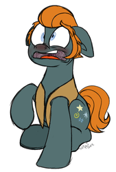 Size: 684x1009 | Tagged: safe, alternate version, artist:binkyt11, derpibooru exclusive, rogue (character), earth pony, pony, henchmen, male, nose wrinkle, nostril flare, pre sneeze, red nosed, scar, sick, sideburns, simple background, sneezing, solo, stallion, white background