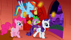 Size: 1280x720 | Tagged: safe, screencap, pinkie pie, rainbow dash, rarity, spike, dragon, earth pony, pegasus, pony, unicorn, the ticket master, early installment weirdness, gala ticket, magic, telekinesis, ticket