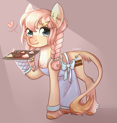 Size: 1024x1075 | Tagged: safe, artist:worldlofldreams, oc, oc only, earth pony, pony, apron, braid, chocolate, clothes, colored hooves, crepuscular rays, ear fluff, ear piercing, female, food, hairband, hairpin, heart, hoof fluff, hoof hold, leonine tail, looking at you, mare, mittens, pan, piercing, red background, simple background, solo, twin braids