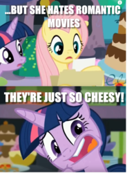 Size: 638x867 | Tagged: safe, edit, edited screencap, screencap, fluttershy, twilight sparkle, alicorn, party pooped, faic, image macro, meme, they're just so cheesy, twilight sparkle (alicorn)