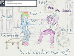 Size: 2560x1920 | Tagged: safe, artist:cybersquirrel, aria blaze, rainbow dash, tumblr:ariadash, equestria girls, ariadash, backpack, blushing, clothes, couch, digital art, female, lesbian, rainbow socks, shipping, socks, striped socks, traditional art emulation, tumblr