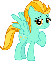 Size: 845x1011   Tagged: safe, artist:lightningbolt, derpibooru exclusive, lightning dust, pegasus, pony, villains of equestria collab, .svg available, female, grin, lidded eyes, looking at you, mare, raised hoof, simple background, smiling, smug, solo, spread wings, standing, svg, transparent background, vector, wings