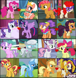 Size: 1816x1866 | Tagged: safe, edit, edited screencap, screencap, adagio dazzle, apple bloom, applejack, babs seed, diamond tiara, pinkie pie, plaid stripes, rarity, saffron masala, silver spoon, somnambula, sunset shimmer, sweetie belle, trixie, twilight sparkle, twist, alicorn, babstwist, crack shipping, dazzlejack, female, lesbian, pinkambula, rarilight, saffronstripes, shipping, shipping domino, silvertiara, suntrix, sweetiebloom, twilight sparkle (alicorn)