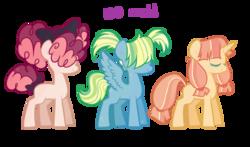 Size: 1024x604   Tagged: safe, artist:peachjay, oc, oc only, earth pony, pegasus, pony, unicorn, eyes closed, female, hair over eyes, magical lesbian spawn, mare, offspring, parent:applejack, parent:derpy hooves, parent:moondancer, parent:pinkie pie, parent:rainbow dash, parent:songbird serenade, parents:derpydash, simple background, transparent background
