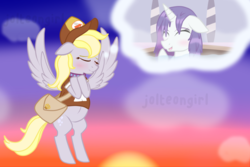 Size: 1024x683 | Tagged: safe, artist:jolteongirl, derpy hooves, rarity, pony, blushing, cap, clothes, derpity, female, flying, hat, lesbian, mailbag, shipping, spa