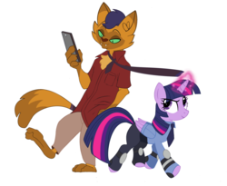 Size: 1220x1000 | Tagged: safe, artist:weasley-detectives, capper dapperpaws, twilight sparkle, abyssinian, alicorn, anthro, digitigrade anthro, my little pony: the movie, capper x twilight, capperlight, crossover, disney, female, judy hopps, male, mare, nick wilde, parody, simple background, straight, twilight sparkle (alicorn), twilight x capper, twipper, white background, zootopia