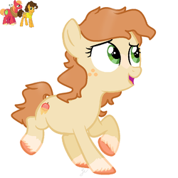 Size: 874x874 | Tagged: safe, artist:royalswirls, big macintosh, cheese sandwich, oc, oc only, earth pony, pony, base used, female, filly, freckles, gay, mac n cheese, magical gay spawn, male, offspring, parent:big macintosh, parent:cheese sandwich, parents:mac n cheese, shipping, simple background, solo, stallion, unshorn fetlocks, white background
