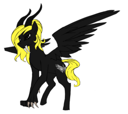 Size: 3845x3416 | Tagged: artist:nsilverdraws, artist:veen, claws, demon, fangs, female, flat colors, horns, horse, mare, no iris, no pupils, oc, oc only, oc:veen sundown, paws, pegasus, pony, ponytail, sabertooth pony, safe, simple background, solo, standing, transparent background, wings