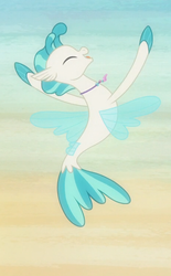 Size: 462x746 | Tagged: safe, screencap, terramar, seapony (g4), season 8, surf and/or turf, belly button, cropped, cute, eyes closed, female, fins, happy, leaping, male, mare, open mouth, smiling, solo, tail, terrabetes