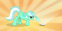 Size: 4000x2000 | Tagged: artist:flamevulture17, behaving like a cat, cellphone, curious, cute, female, focused, glare, light, looking at something, lyrabetes, lyra heartstrings, mare, phone, pony, raised hoof, safe, serious, serious face, solo, sunburst background, unicorn