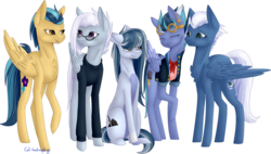 Size: 1504x854   Tagged: safe, artist:sychia, indigo zap, night glider, oc, oc:black lightning (ice1517), oc:jet stream (ice1517), oc:winter flurry, pegasus, pony, icey-verse, annoyed, chest fluff, clothes, ear piercing, earring, eyes closed, family, female, glasses, goggles, grumpy, indiglider, jacket, jewelry, lesbian, magical lesbian spawn, mare, mother, mother and daughter, next generation, offspring, open mouth, parents:indiglider, piercing, shipping, simple background, sweater, transparent background, unamused, wingless
