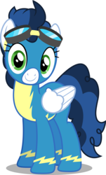 Size: 3020x5000   Tagged: safe, artist:dashiesparkle, high winds, pegasus, pony, newbie dash, .svg available, clothes, female, goggles, high res, looking at you, mare, simple background, smiling, solo, transparent background, uniform, vector, wonderbolts uniform