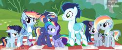 Size: 1024x418 | Tagged: safe, artist:sleppchocolatemlp, rainbow dash, soarin', oc, oc:blaze storm, oc:castrider star, oc:delirious storm, oc:nick storm, oc:night thunder, oc:rainbow cupcake, oc:white comet, pegasus, pony, alternate design, colt, female, filly, male, mare, offspring, parent:rainbow dash, parent:soarin', parents:soarindash, picnic blanket, shipping, soarindash, straight