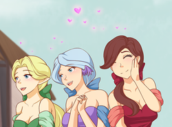 Size: 556x412 | Tagged: safe, artist:jonfawkes, edit, dear darling, fond feather, swoon song, human, hard to say anything, bimbettes, breasts, clothes, cropped, dress, elf ears, eyes closed, female, hands together, heart, humanized, infatuation, open mouth, scene interpretation, smiling, unicorns as elves, wing ears