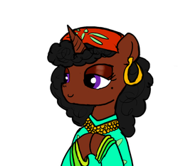Size: 640x600 | Tagged: artist:ficficponyfic, clothes, colored, color edit, colt quest, curly hair, cyoa, demon, ear piercing, edit, editor:minus, explicit source, female, headscarf, mare, oc, oc only, oc:stargazer, piercing, safe, scarf, simple background, solo, succubus, unicorn, white background