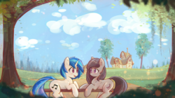 Size: 1920x1080 | Tagged: alternate hairstyle, alternate version, artist:mirroredsea, backwards cutie mark, blushing, chromatic aberration, cloud, cute, dj pon-3, duo, earth pony, eye contact, female, fence, house, looking at each other, mare, missing accessory, octavia melody, open mouth, outdoors, pony, prone, safe, sky, smiling, tavibetes, tree, unicorn, vinylbetes, vinyl scratch