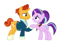 Size: 2378x1675 | Tagged: artist:jonathantaniuchi, clothes, duo, father complex, female, here we go again, male, mare, oedipus complex, pony, recolor, safe, shipping, simple background, stallion, starburst, starlight glimmer, straight, sunburst, the parent map, transparent background, unicorn