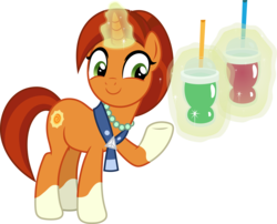 Size: 6414x5172 | Tagged: safe, artist:pink1ejack, stellar flare, pony, unicorn, the parent map, absurd resolution, choose your destiny, drinking straw, female, glowing horn, jewelry, magic, mare, necklace, raised hoof, silliness in the comments, simple background, smiling, smoothie, solo, telekinesis, transparent background