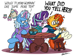 Size: 2284x1733 | Tagged: safe, artist:bobthedalek, starlight glimmer, sunburst, trixie, pony, unicorn, the parent map, angry, bathrobe, bed mane, clothes, cross-popping veins, cup, evil grin, female, food, grin, implied firelight, inconvenient trixie, magic, mare, morning ponies, muffin, ragelight glimmer, robe, simple background, smiling, table, tea, teacup, teapot, teasing, telekinesis, this will end in pain, trio, vein bulge, white background