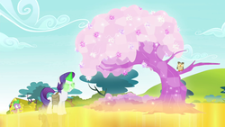 Size: 1280x720 | Tagged: crystal, crystal flower, crystal tree, dark magic, dragon, female, glowing eyes, glowing horn, gold, golden road, grin, inspirarity, inspiration manifestation, magic, male, mare, owl, owlowiscious, pony, possessed, rarity, safe, screencap, smiling, spike, tree, unicorn
