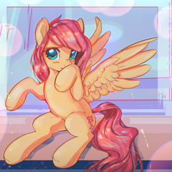 Size: 2800x2800   Tagged: safe, artist:mirroredsea, artist:share dast, fluttershy, pegasus, pony, blushing, collaboration, covering mouth, cute, female, head turn, looking at you, mare, shyabetes, sitting, smiling, solo, spread wings, wings