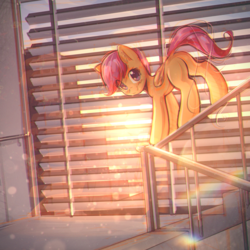 Size: 2800x2800 | Tagged: safe, artist:mirroredsea, scootaloo, pegasus, pony, behaving like a cat, blank flank, blinds, cute, cutealoo, female, folded wings, head turn, lens flare, looking at you, mare, missing cutie mark, plot, railing, solo, stairs, sunlight, window