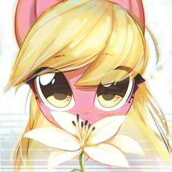 Size: 3800x3800 | Tagged: safe, artist:mirroredsea, lily, lily valley, earth pony, pony, bust, cute, eye clipping through hair, eyebrows visible through hair, female, flower, lily (flower), lilybetes, looking at you, mare, portrait, solo
