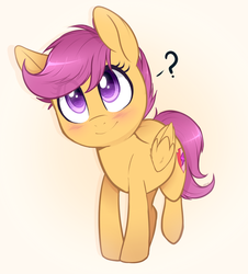 Size: 900x997 | Tagged: safe, artist:higgly-chan, scootaloo, pegasus, pony, blushing, cute, cutealoo, eye clipping through hair, female, filly, head tilt, looking up, question mark, raised leg, simple background, smiling, solo, white background, yellow background