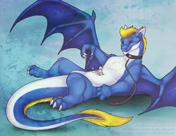 Size: 1280x989 | Tagged: safe, artist:robynthedragon, oc, oc only, oc:der, oc:nyama, dragon, griffon, bellyrubs, collar, duo, eyes closed, fluffy dragon, leash, male, micro, micro dom, on back