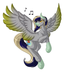 Size: 4529x4921 | Tagged: absurd res, artist:amazing-artsong, commission, male, music notes, oc, oc:flame flood, pegasus, pony, safe, simple background, solo, transparent background